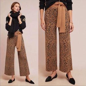 Anthropologie Moth Leopard Sweater Tue Waist Pants